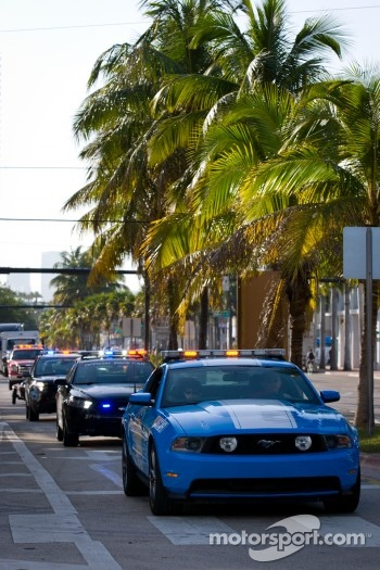 NASCAR Championship Drive in South Beach: haulers parade on Ocean Drive