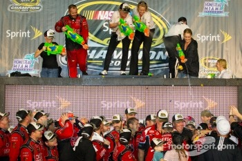 Victory lane: water guns celebrations