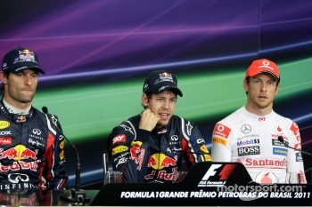 Polesitter Sebastian Vettel, Red Bull Racing, second place Mark Webber, Red Bull Racing, third place Jenson Button, McLaren Mercedes