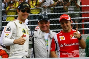 Rubens Barrichello with his countrymen, Bruno Senna and Felipe Massa at 2011 Brazilian GP
