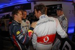 Sebastian Vettel, Michael Schumacher, Jenson Button and David Coulthard