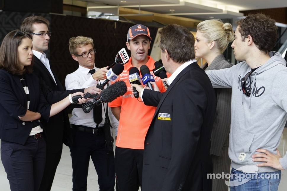Jamie Whincup talks to the media at a press call at The Star in Sydney