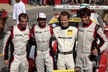 Race winners Khaled Al Qubaisi, Sean Edwards, Jeroen Bleekemolen, Thomas Jäger