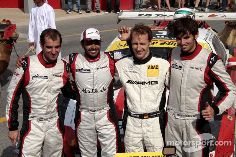 Race winners Khaled Al Qubaisi, Sean Edwards, Jeroen Bleekemolen, Thomas Jäger