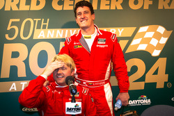 Pole winner Ryan Dalziel celebrates with Enzo Potolicchio