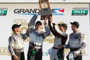 GT victory lane: class winners Andy Lally, Richard Lietz, John Potter, Rene Rast