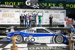 DP victory lane: class and overal winners A.J. Allmendinger, Oswaldo Negri, John Pew and Justin Wilson celebrate