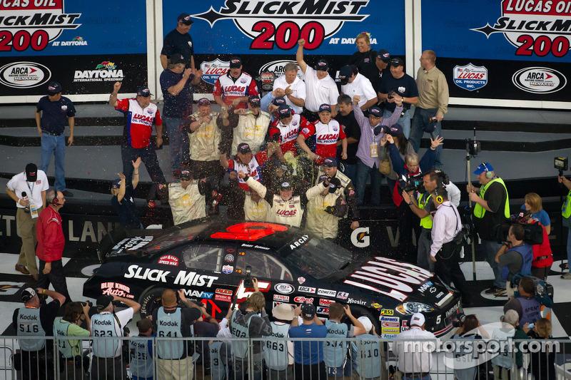 Victory lane: race winner Bobby Gerhart celebrates