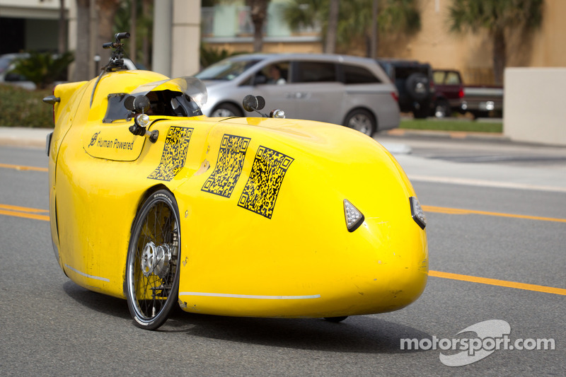 Human powered car in the streets of Daytona