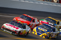 Greg Biffle, Roush Fenway Racing Ford, Martin Truex Jr., Michael Waltrip Racing Toyota, Joey Logano, Joe Gibbs Racing Toyota
