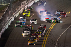 Parker Kligerman, Brad Keselowski Racing Dodge and David Starr, Toyota crash