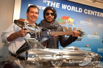 Press conference: Daytona 500 pre-race show performer Lenny Kravitz with Daytona International President Joie Chitwood