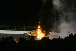 A jet dryer truck is on fire after a crash with Juan Pablo Montoya, Earnhardt Ganassi Racing Chevrolet