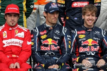Fernando Alonso, Scuderia Ferrari, Mark Webber, Red Bull Racing and Sebastian Vettel, Red Bull Racing
