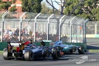 Pastor Maldonado, Williams F1 Team, Mark Webber, Red Bull Racing and Nico Rosberg, Mercedes GP