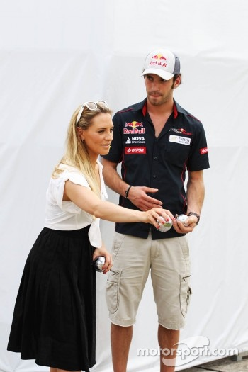 Georgie Thompson, Sky Sports F1 Presenter and Jean-Eric Vergne, Scuderia Toro Rosso play boules