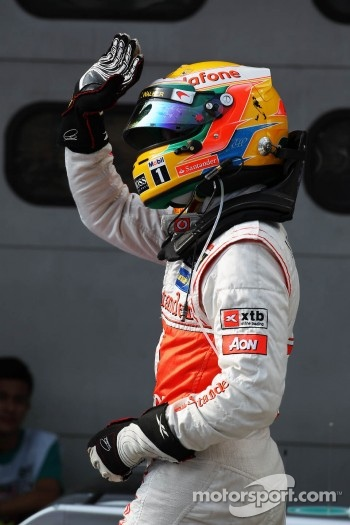 Lewis Hamilton, McLaren Mercedes celebrates his pole position in parc ferme