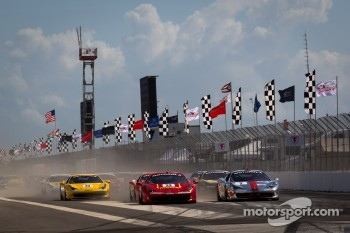 Start: #24 Ferrari of Beverly Hills 458TP: Carlos Kauffmann and #2 Ferrari of Ft Lauderdale 458TP: Alex Popow battle for the lead