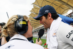 Mark Webber, Red Bull Racing interviewed by Jenny Gow, BBC Radio 5 Live Pitlane Reporter on the grid