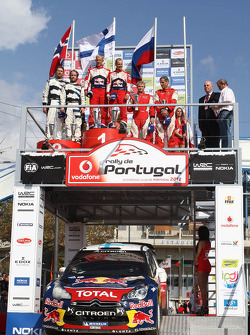 Excluded winners Mikko Hirvonen and Jarmo Lehtinen, Citroën DS3 WRC, Citroën Total World Rally Team, second place Mads Ostberg and Jonas Andersson, Ford Fiesta RS WRC, third place Evgeny Novikov and Denis Giraudet, Ford Fiesta RS WRC