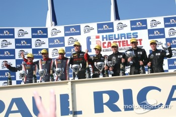 P2 podium: race winners Mathias Beche and Pierre Thiriet, second place Stéphane Sarrazin, Nicolas Minassian and Nicolas Marroc, third place Yelmer Buurman, Alexander Sims and Dean Stirling