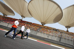 Paul di Resta, Sahara Force India F1 and Jules Bianchi, Sahara Force India F1 Team Third Driver, walk the circuit
