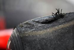 Worn Pirelli tyre on the Ferrari of Felipe Massa, Scuderia Ferrari