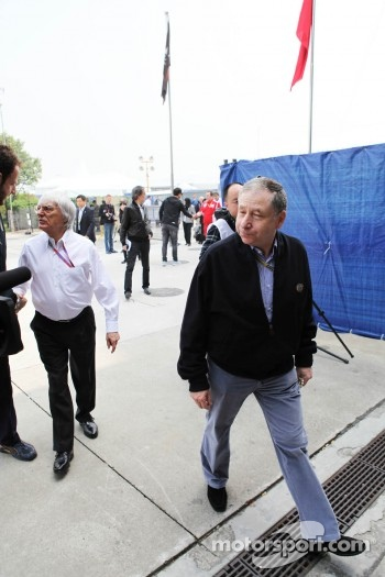 Bernie Ecclestone, CEO Formula One Group, with Jean Todt, FIA President