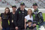 Kurt and Kyle Busch pose for a photo with Samantha Busch and Patricia