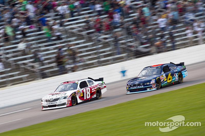 Denny Hamlin, Joe Gibbs Racing Toyota and Ricky Stenhouse Jr., Roush Fenway Ford