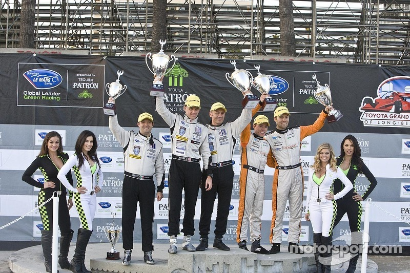 ALMS P2 podium: winners Scott Tucker, Christophe Bouchut, second place Martin Plowman, David Heinemeier Hansson, third place Luiz Diaz
