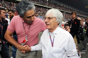 Salman Bin Isa Al Khalifa, Acting Chief Executive Officer Bahrain International Circruit with Bernie Ecclestone, CEO Formula One Group,