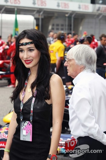 Celina Jade, Actress, with Bernie Ecclestone, CEO Formula One Group