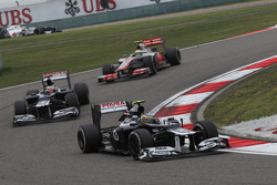 Bruno Senna, Williams F1 Team leads Pastor Maldonado, Williams F1 Team