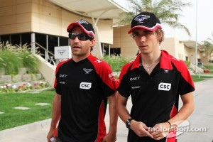 Timo Glock, Marussia F1 Team with team mate Charles Pic, Marussia F1 Team