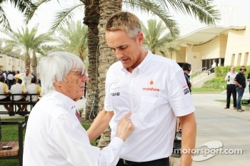 Bernie Ecclestone, CEO Formula One Group, with Martin Whitmarsh, McLaren Mercedes Chief Executive Officer