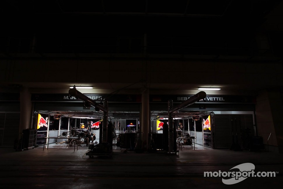 Red Bull Racing pit garages at night