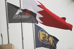 F1, FIA, and Bahrain flags