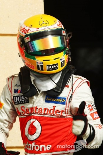 Lewis Hamilton, McLaren Mercedes celebrates his second position in parc ferme