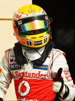 Lewis Hamilton, McLaren Mercedes celebrates his second position in parc ferme