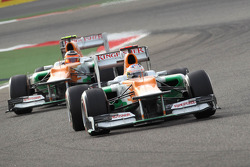 Paul di Resta, Sahara Force India Formula One Team leads Nico Hulkenberg, Sahara Force India Formula One Team