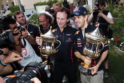 Christian Horner, Red Bull Racing Team Principal celebrates with race winner Sebastian Vettel, Red Bull Racing
