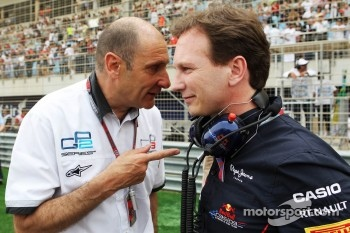 Bruno Michel, GP2 Boss with Christian Horner, Red Bull Racing Team Principal