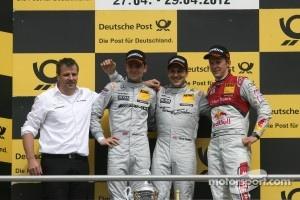 2nd Jamie Green, Team HWA AMG Mercedes, AMG Mercedes C-Coupe, 1st Gary Paffett, Team HWA AMG Mercedes, AMG Mercedes C-Coupe, 3rd Mattias Ekström, Audi Sport Team Abt Sportsline, Audi A5 DTM