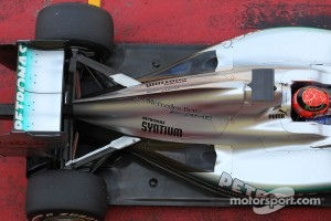 Michael Schumacher, Mercedes AMG Petronas engine cover and rear wing