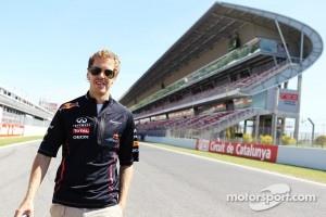 Sebastian Vettel, walks the Circuit de Catalunya before the last Spain GP.