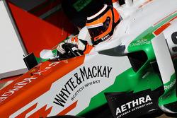 Nico Hulkenberg, Sahara Force India F1 leaves the pits