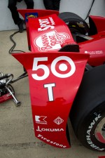 Rear wing and back of the car of Dario Franchitti, Target Chip Ganassi Racing Honda