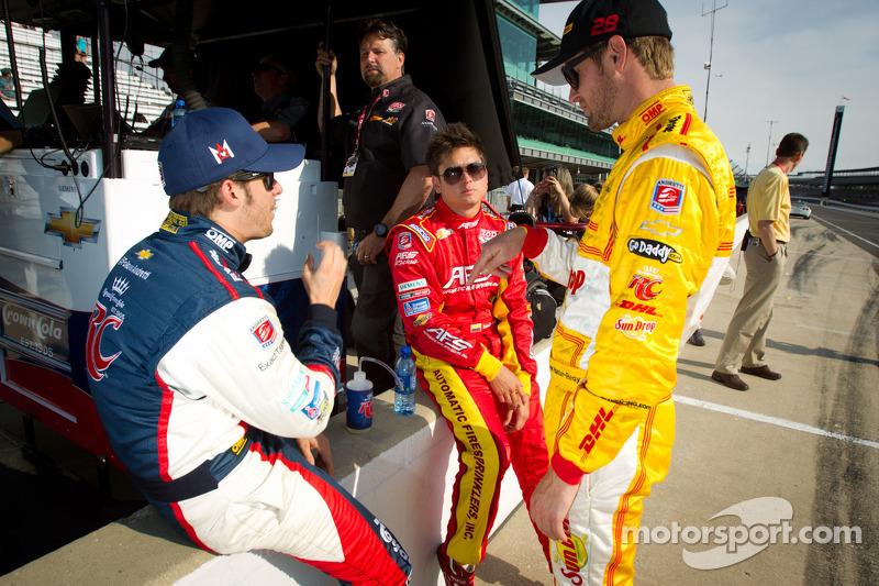 Marco Andretti, Andretti Autosport Chevrolet, Sebastian Saavedra, AFS Racing/Andretti Autosport Chevrolet and Ryan Hunter-Reay, Andretti Autosport Chevrolet