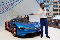 Laurens Van Den Acker, Renault Industrial Design Director unveils the Renault Alpine A110-50 Concept car on the Red Bull Energy Station